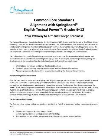 Common core alignment with springboard english college board fandeluxe Gallery
