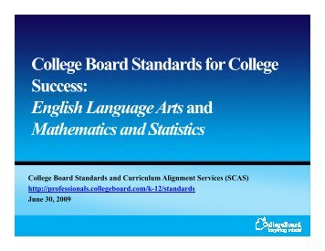 College Board Standards for College Success ...