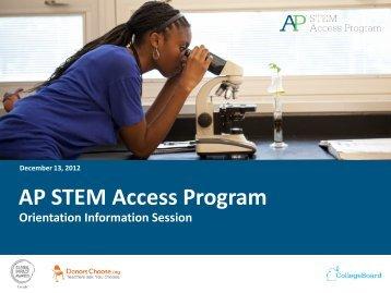 AP STEM Access Program - College Board