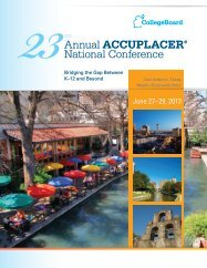 ACCUPLACER® National Conference Annual - College Board