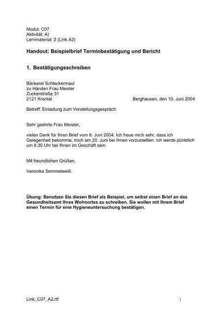 Handout: Beispielbrief Terminbestätigung und