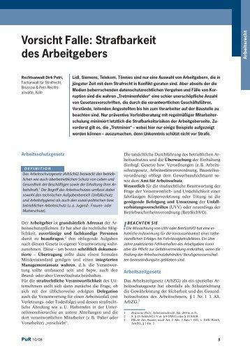 Strafbarkeit des Arbeitgebers - Strafverteidiger Rainer Brüssow ...