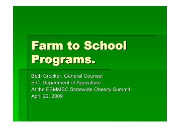 Farm to School Programs. - South Carolina Department of Agriculture