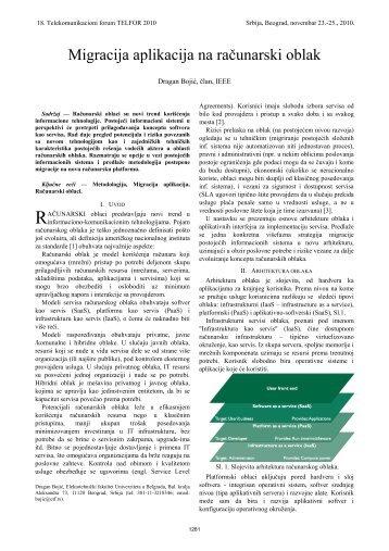 Migracija aplikacija na računarski oblak - Telfor 2010