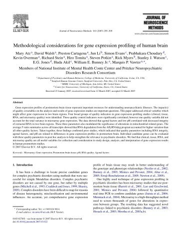Methodological considerations for gene expression profiling of ...