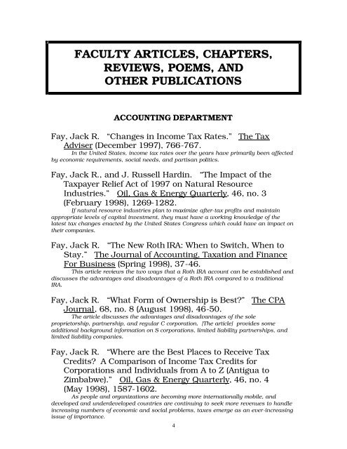 faculty articles, chapters, reviews, poems, and other