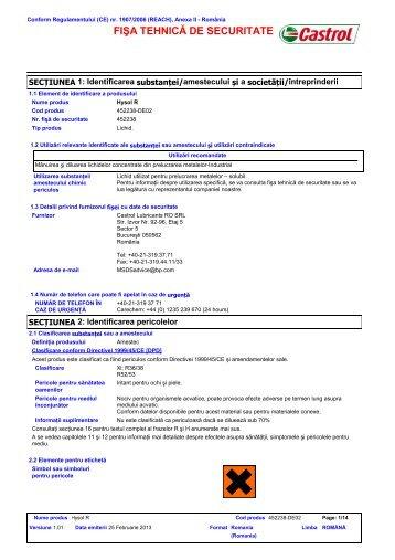 FIŞA TEHNICĂ DE SECURITATE - BP - PDS & MSDS Search