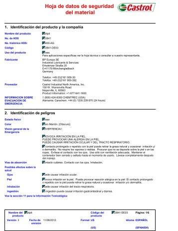 Hoja de datos de seguridad del material - BP - PDS & MSDS Search