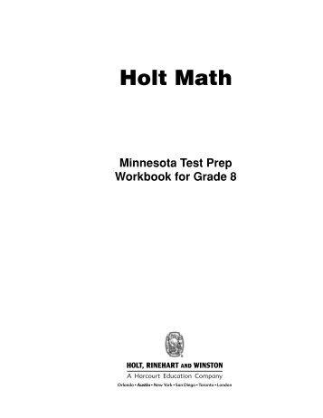Test Prep Workbook for Grade 8