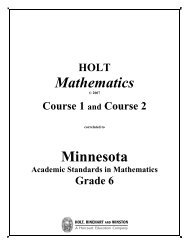 Holt Mathematics Course 1 and Course 2 Correlation to Grade 6 ...
