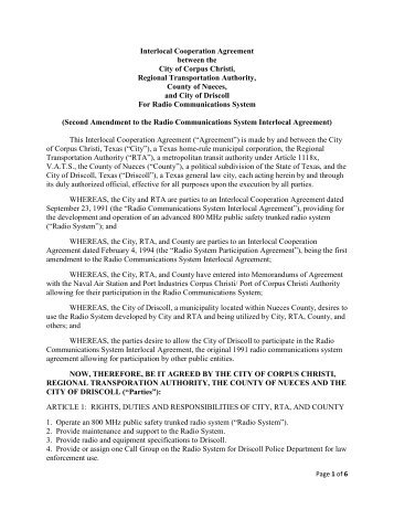 Interlocal Agreement City of Driscoll Radio System - Agenda