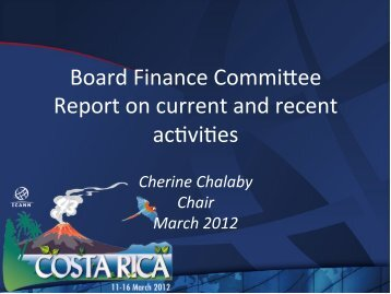 Board Finance Commi.ee Report on current and recent ac-vi-es
