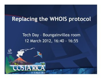 Replacing the WHOIS protocol - Costa Rica - icann