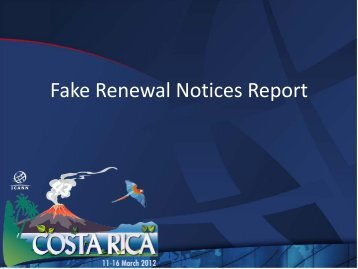 Fake Renewal Notices Report - Costa Rica - icann