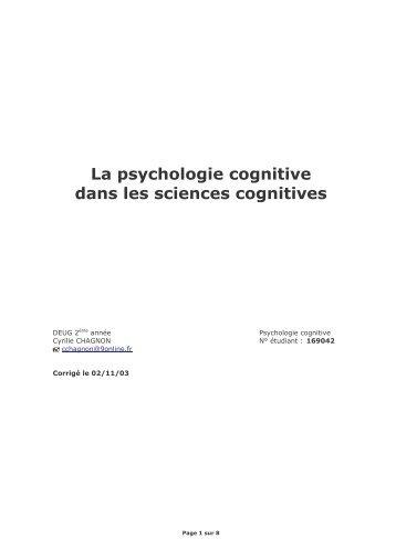 La psychologie cognitive dans les sciences cognitives - Cyrille ...