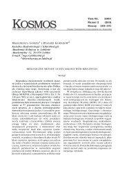 Biologiczne metody oceny jakości wód rzecznych - Kosmos