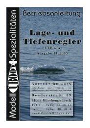 Lage- und Tiefenregler Betriebsanleitung - Modell-Uboot-Spezialitäten