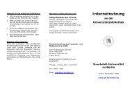 Internetnutzung - Universitätsbibliothek der HU Berlin - Humboldt ...