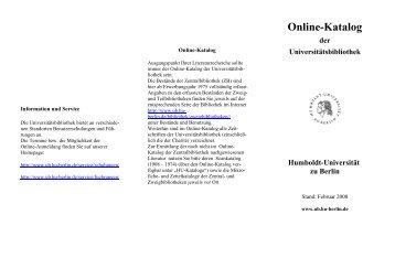 Online-Katalog - Universitätsbibliothek der HU Berlin