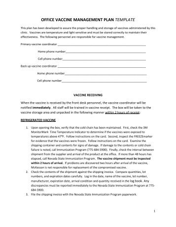 office vaccine management plan template nevada state health