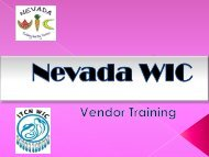 Nevada State WIC - Nevada State Health Division