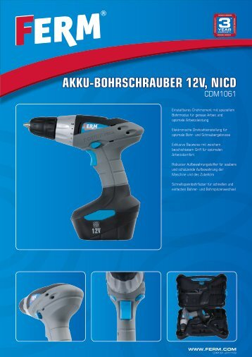 AKKU-BOHRSCHRAUBER 12V, NICD - FERM.com