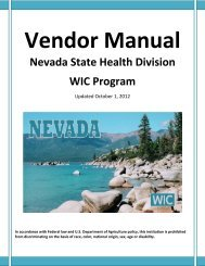 Vendor Manual - Nevada State Health Division - State of Nevada