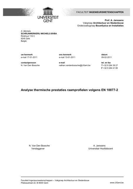 Analyse thermische prestaties raamprofielen volgens EN 10077-2