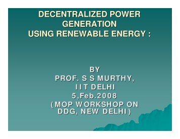 Decentralized Power Generation Using Renewable Energy: BY Prof