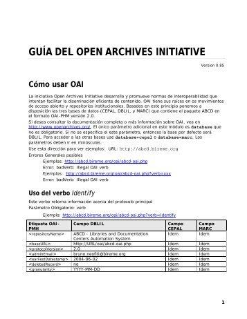guía del open archives initiative - Modelo da BVS