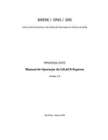 Manual de Operação da LILACS Express - Modelo da BVS ...