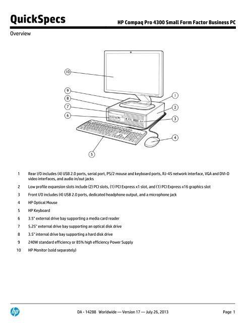 Hp compaq 6005 pro small form factor pc quickspecs