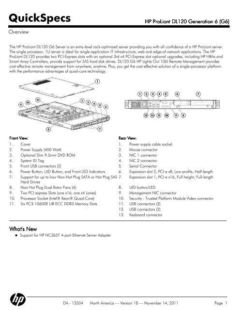 HP ProLiant DL120 Generation 6 (G6)