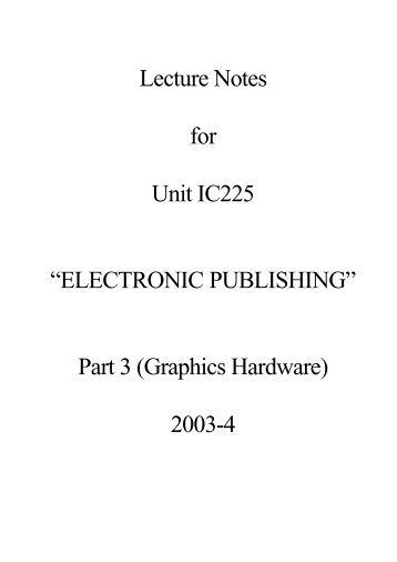 IC225 Lecture Notes 3 (PDF : 24 KB) - Personal Home Pages (at UEL)