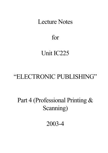 IC225 Lecture Notes 4 (PDF : 33 KB) - Personal Home Pages (at UEL)