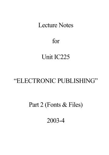 IC225 Lecture Notes 2 (PDF : 44 KB) - Personal Home Pages (at UEL)