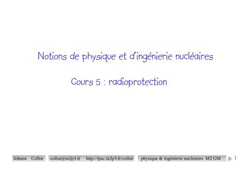radioprotection et ingenierie nucleaire