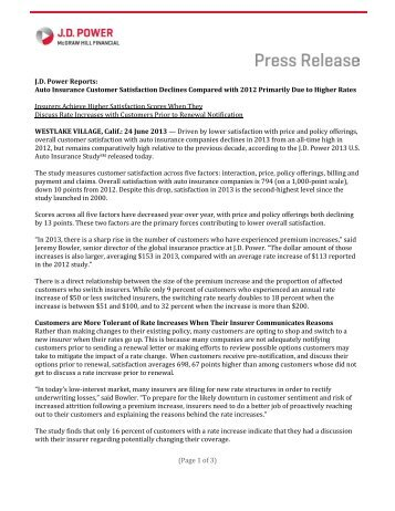 (Page 1 of 3) J.D. Power Reports: Auto Insurance Customer ... - Dealer