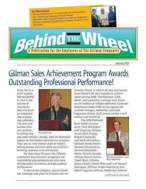 Gillman Honda Houston >> Gillman Sales Achievement Program Awards Outstanding