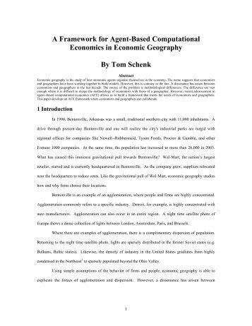 A Framework for Agent-Based Computational Economics in ...