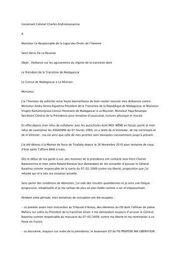 Lieutenant Colonel Charles Andrianasoavina A ... - Fichier PDF