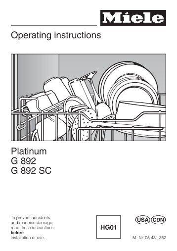 Miele novotronic g 842 plus operating instructions manual pdf.