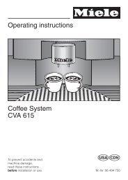CVA 615us - Coffee System - Operating Instructions - Miele.ca