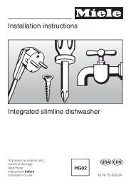 Installation instructions Integrated slimline dishwasher - Miele.ca
