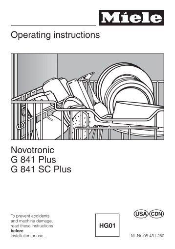 operating instructions novotronic g 841 plus g 841 sc plus miele ca rh yumpu com Miele Dishwasher G Model 1000 Miele Dishwasher Inlet Valve
