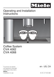 Operating and Installation Instructions Coffee System CVA ... - Miele.ca