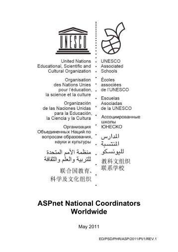 ASPnet national coordinators worldwide; 2011 - unesco iite