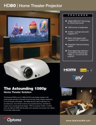 HD80 Home Theater Projector - the Optoma Marketing Intranet.