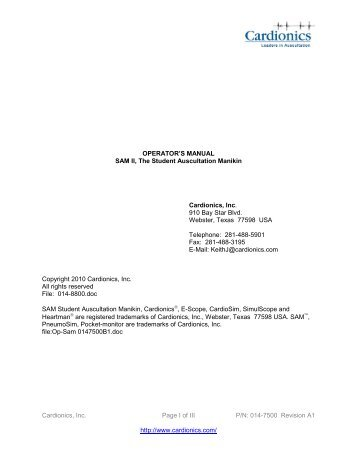 Operator's manual - SAM II - Cardionics