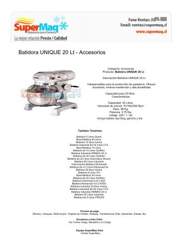 Batidora UNIQUE 20 Lt - Accesorios - Maquinas Para Negocio